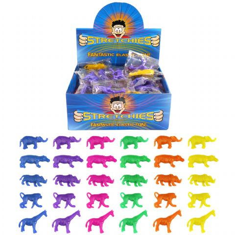 84 x Stretchy Jungle Animals - Stretchies Party Bag Fillers Favours Toys - Wholesale Bulk Buy